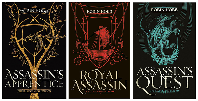 Covers of the 25th anniversary hardback Farseer trilogy